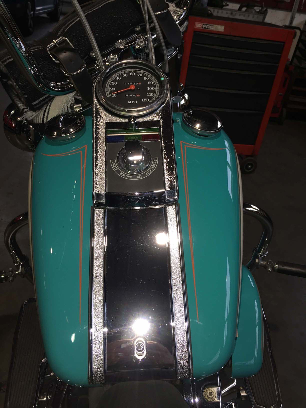 pinstripe brandstof tank Harley Davidson motor